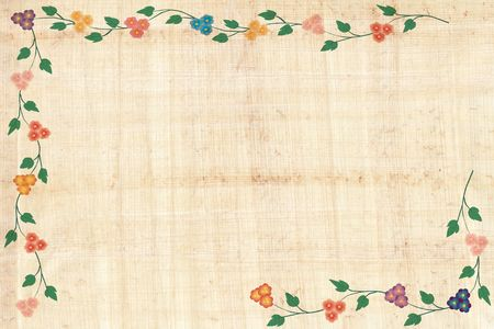 Papyrus paper with flower border photo