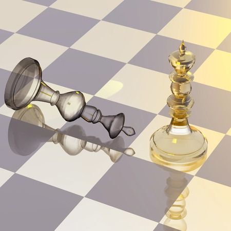 Chess figures on chess board