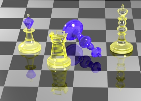 gamesmanship: Chess figures on chess board with reflection Stock Photo