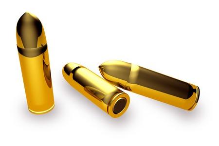 millimetres: Golden bullets isolated on white