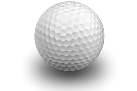 Golf ball on white with shadow