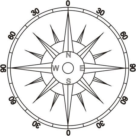 Simple black and white compass illustration
