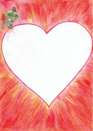 Hand drawn valentine card border with heart and roses