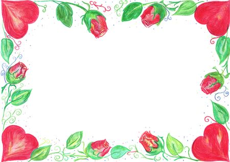 Hand drawn valentine card border with heart and roses photo