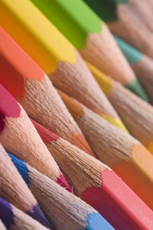 Colorful colored pencils in a line