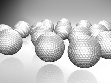 Bunch of golf balls with reflection