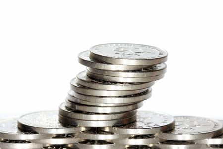 Stack of coins on white Stock Photo - 2694063