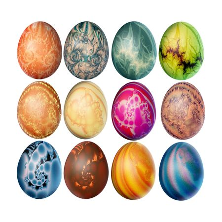 Set of twelve decorated easter eggs