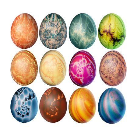 twelve: Set of twelve decorated easter eggs