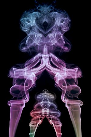 Two colored smoke abstract figure photo