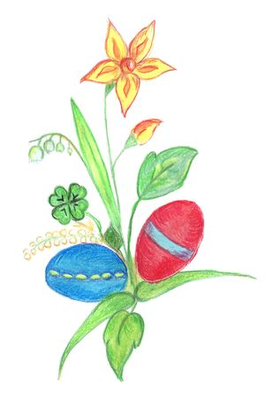 Different flowers with easter eggs Stock Photo - 2722423