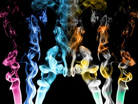 Smoke trails in different colors photo