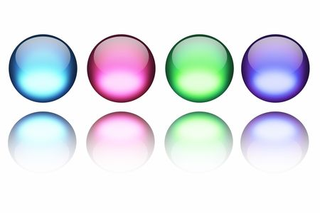 Colorful spheres on white with reflection photo