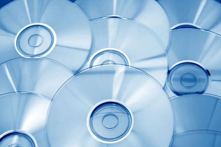 Abstract background of blue CDs