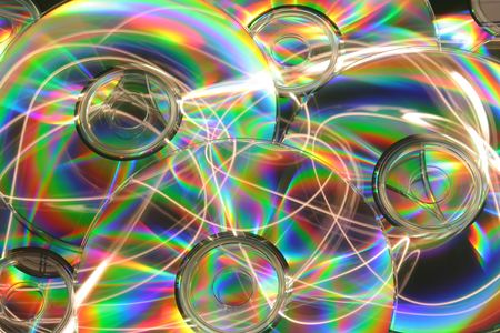 Abstract background of colorful CDs
