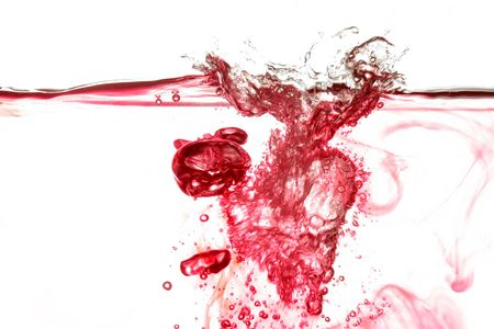 aqa: Red water splash with bubbles
