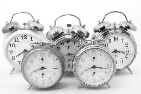 Black and white old alarm clocks photo
