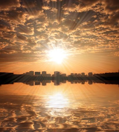 Sunset sky over Zagreb with reflection in river Stock Photo