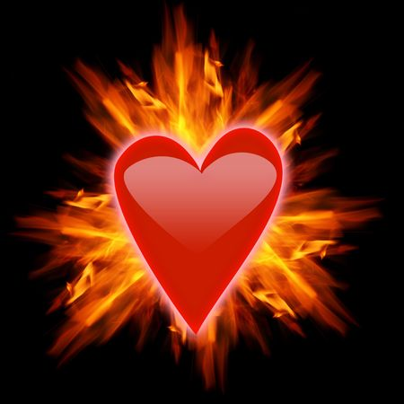 wildfire: Red heart with ornage flames Stock Photo