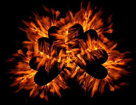 ornage: Black hearts with ornage flames Stock Photo