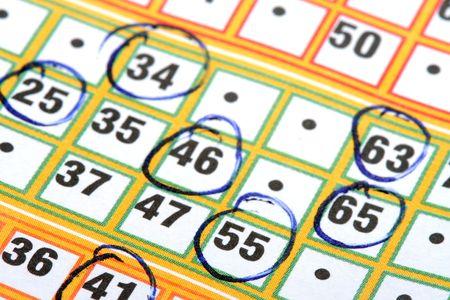 circled: Bingo tarjeta con n�meros en c�rculos