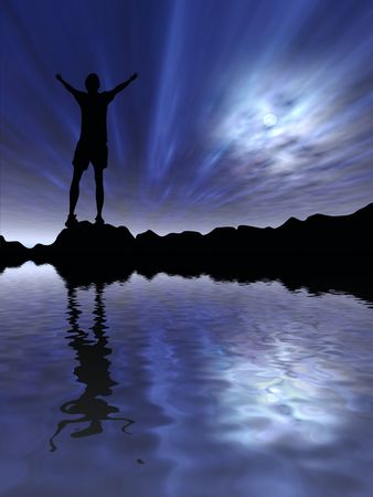 Silhouette of man against night sky Stock Photo