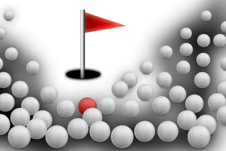 Bunch of golf balls with hole photo
