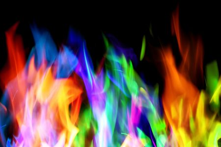 Colorful flames ob black background