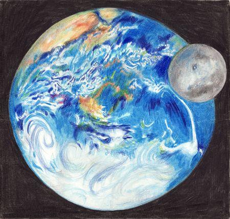 sattelite: Earth and Moon hand drawn illustration