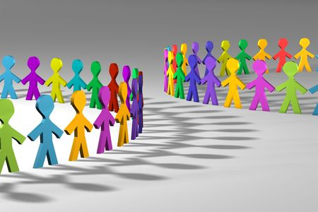 Colorful 3D people in a circle shape Stock Photo
