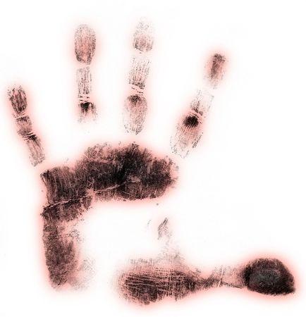 friction ridges: Left hand print on white background