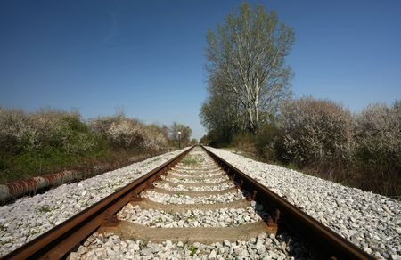 vanishing: Railroad track vanishing ito horizon