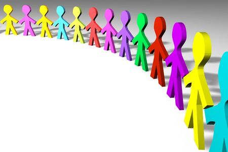 companionship: Colorful 3D people in a circle shape Stock Photo