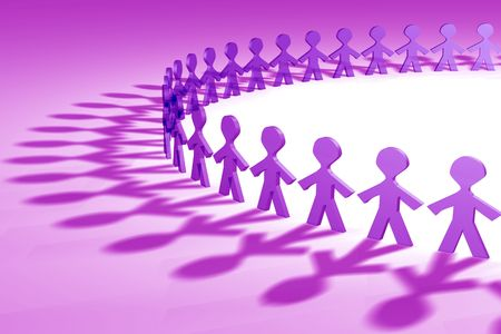 unify: Purple 3D people in a circle shape Stock Photo