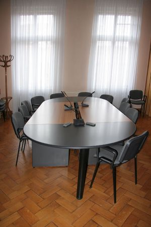 Empty boardroom meeting area with wooden floor Stock Photo - 3027699