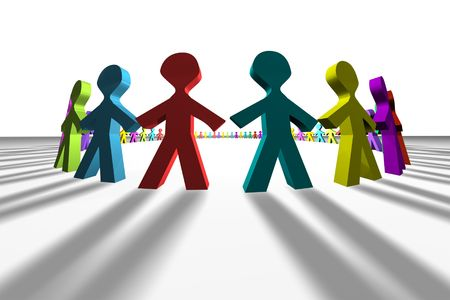 unify: Colorful 3D people in a circle shape Stock Photo