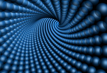 Tunnel shape made from blue spheres photo
