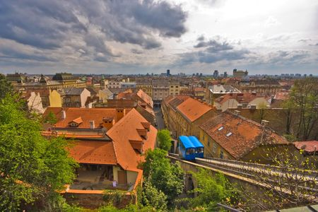 Zagreb cityscape with cloudy sky