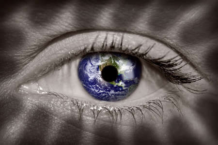 Earth in a womans eye