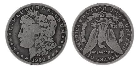 twentieth: silver dollar at the beginning of the twentieth century, isolated with clipping path