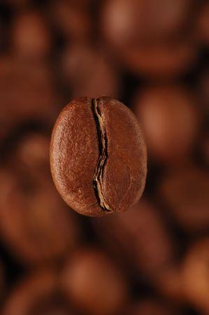 grains of coffee: Caf�-frijol por encima de los granos de caf�, vertical