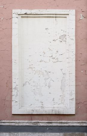 dilapidated wall: dilapidated wall and white rectangle frame
