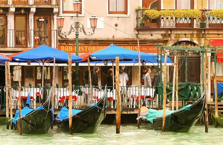 Boat parking in downtown area in italy