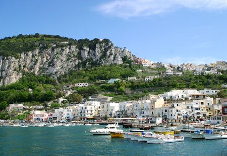 View of Italian City and Mountainside, Capri Italy