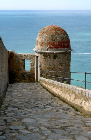 View of Italian waters from tower, Portoverne, Italy Stock Photo