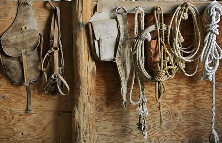 Horse Saddle and Tack Supplies Stock Photo