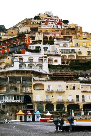 Italian Hillside covered with housing,Positiano, Italy Stock Photo