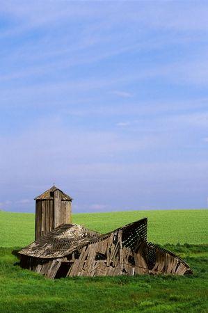 Rundown barn fallen in an open field