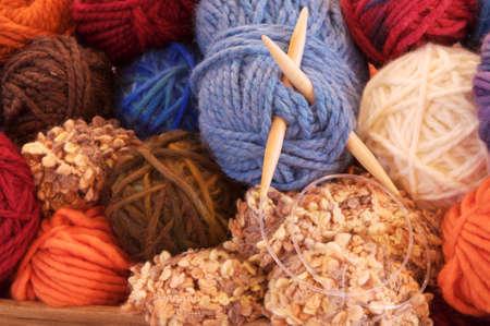 Close up shot of a bowl of yarn