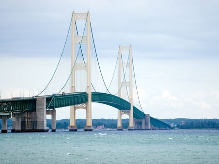 Mackinac bridge in northern Michigan passing over the Straights of Mackinaw
